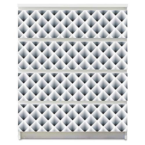 banjado Möbelaufkleber für Kinder-Zimmer | Selbstklebende Möbelfolie passend für IKEA Malm Kommode | Wandtattoo Deko mit Design Raster 3D Grau 79,5 cm x 80 cm
