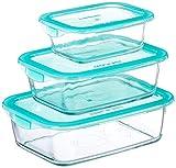 Luminarc Keep'n'Box - Pack de 3 recipientes de vidrio rectangulares con tapa, 37 cl + 76 cl + 116 cl