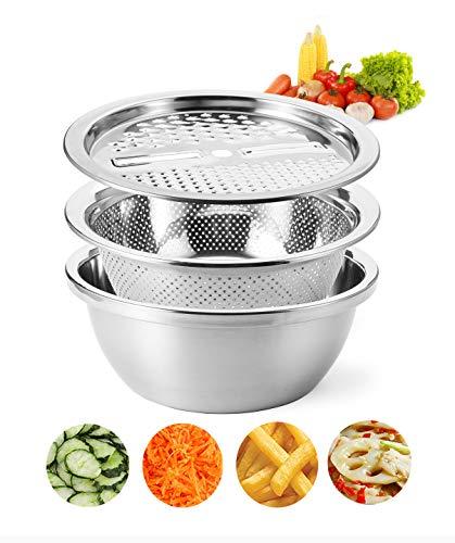 Cedilis 10 Inch Stainless Steel Drain Basket Vegetable Cutter Multifunction Julienne Grater 3 in 1 Colander and Bowl Set Including Slicer Peeler Great Salad Maker Bowl