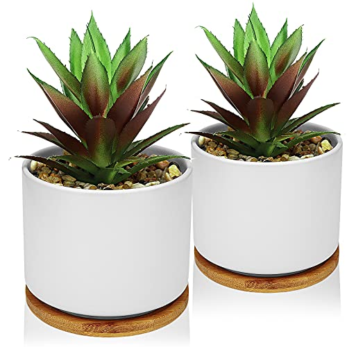 Hopewood Artificial Plants in White Pots Fake Pineapple Bamboo Trays Set of 2...