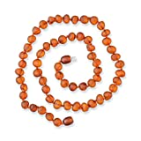 Genuine Raw Amber Necklace - Premium Baltic Sea Amber Beads Between Knots - Hand-Assembled in Europe - Premium Natural Jewelry - Cognac
