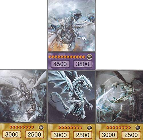 Orica Set di carte: drago e occhi blu con drago e action figure blu, Art Common in Yugioh Anime Design   Include 10 custodie per carte di credito Arkero-G Small