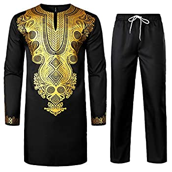 LucMatton Men s African 2 Piece Set Long Sleeve Gold Print Dashiki and Pants Outfit Traditional Suit Black Gold Medium