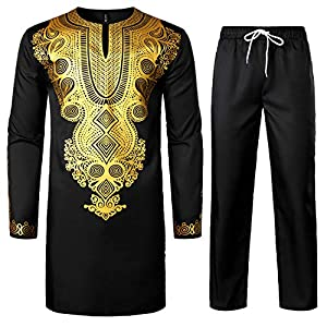 LucMatton Men's African 2 Piece Set Long Sleeve Gold Print Dashiki and Pants Outfit Traditional Suit