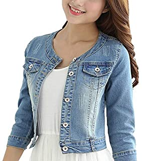 Women's Short Denim Jacket Round Neck Denim Three Quarter Sleeves Light Blue Jacket