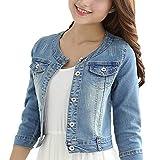 Round Neck Short Denim Shawl Jacket 3/4 Sleeve (Light blue, L)