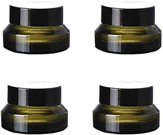 4PCS 30ml 1 OZ Empty Refillable Matt Green Frosted Glass Cosmetic Jar Containers With Inner Liner Luxury Cosmetic Sample P...