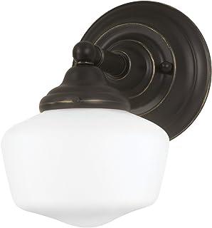 Sea Gull Lighting 44436-782 Academy One-Light Bath or Wall Light Fixture with Satin White Glass, Heirloom Bronze Finish