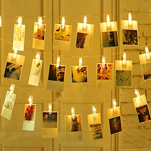 Led Photo Clips Lights, Led String Lights Battery Operated Decorative String Lights for Christmas Tree Bedroom Wedding Party Hanging Photos Pictures Cards Memos Paintings, Warm White