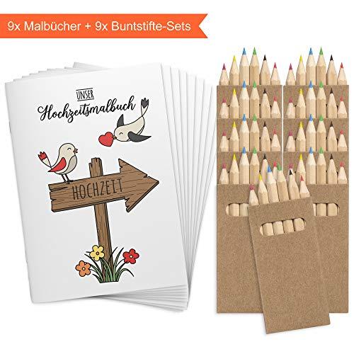 Wedding Shop Love Grows 9 Stück DINA6 Hochzeitsmalbuch mit Buntstifte-Set / 24-seitiges Malbuch zur Hochzeit für Kinder Gastgeschenk Mitgebsel