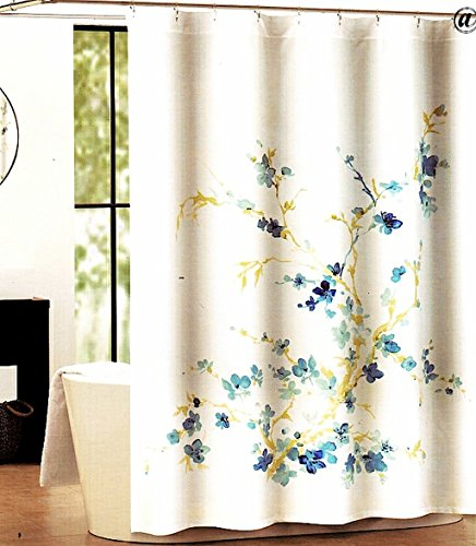 Tahari Home Printemps White/Blue Floral Fabric Shower Curtain