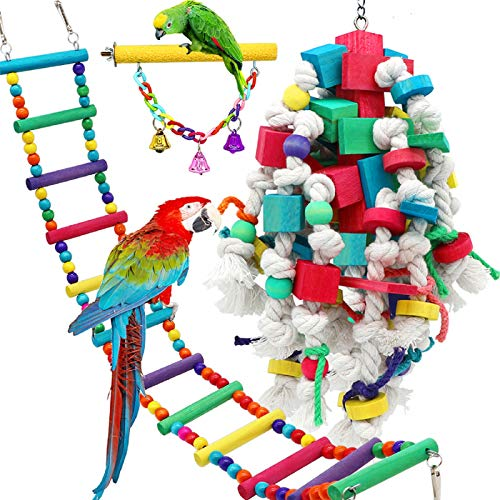 PETUOL Large Bird Swing Toys, 3 PCS Big Parrots Chewing Natural Wood with Bells Toys for Macaws Cokatoos, Alexandrine Parakeet, African Grey Parrot and a Variety of Large Amazon Finch