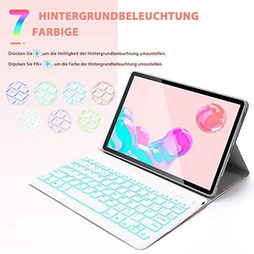 Jelly Comb Samsung Galaxy Tab S6 10.5 Tastatur Hülle, Bluetooth Beleuchtete QWERTZ Tastatur mit Schützhülle für Samsung Galaxy Tab S6 10,5 Zoll T860/T865, 7-farbige Beleuchtung, Rosagold