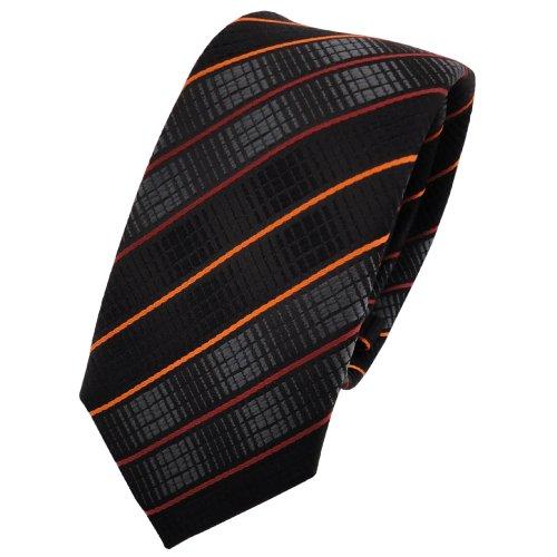 TigerTie - corbata estrecha - naranja negro antracita rayas