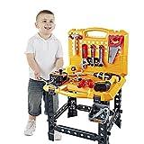 Toy Choi's 83 Stück Werkzeug Kind, Kinder Werkzeugkoffer Werkzeuge Junge Spielzeugbank Baukasten mit Werkzeugen und Spielzeugbohrer
