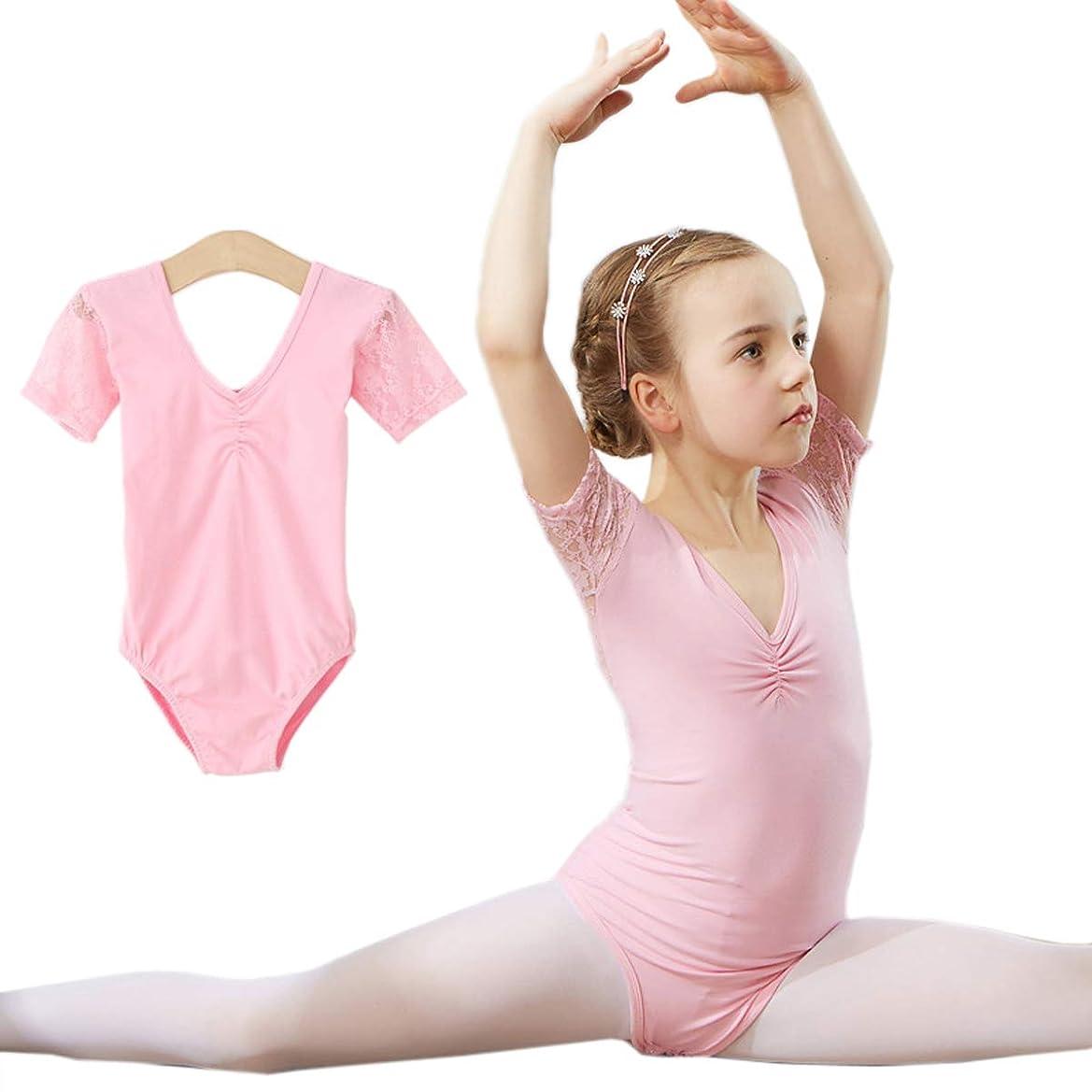 と組むジャンル周りバレエ レオタード キッズ バレエ練習服 女の子 練習着 レッスン着 発表会 スカートなしタイプ 綿 レース cf1002