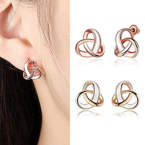 SONGAI Delicate Elegant Rose Hollow Twining Ear Studs Three-Ring Earrings Party Women Pierced Jewelry,Colour Name:Rose Gold Bracelets Earrings Rings Necklaces (Color : Rose Gold)