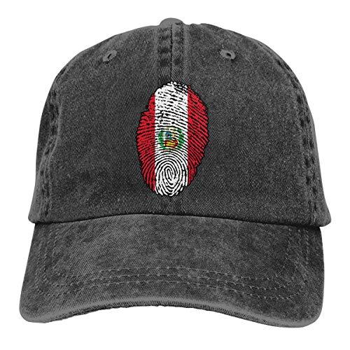 angwenkuanku Unisex Baseball Cap Garn gefärbt Denim Hut Peru Flagge Fingerabdruck verstellbare Snapback Cricket Cap wunderschöne 3710