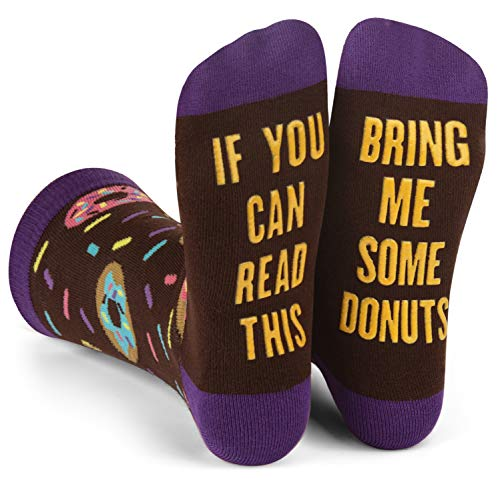 If You Can Read This, Bring Me Some - Funny Novelty White Elephant and Secret Santa Gift Socks For Men and Women (Donuts)