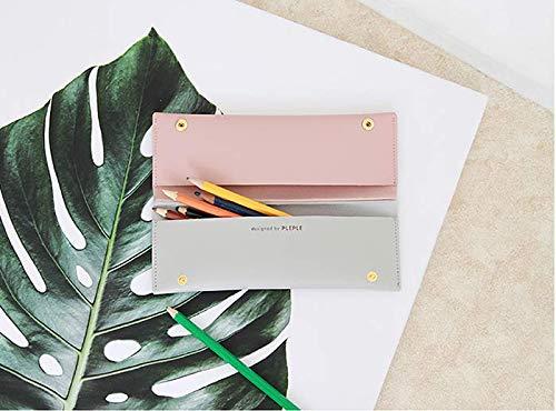 ツインペンケース シンプルな モダンな すっきりとした ポーチ かわいい 韓国 性ペンケース 筆箱 文房具 ポーチ バッグ Pencil Case Pen Pouch 女性の化粧品 子供ブラシ 化粧品 (ピンク_グレー(Pink_Grey))