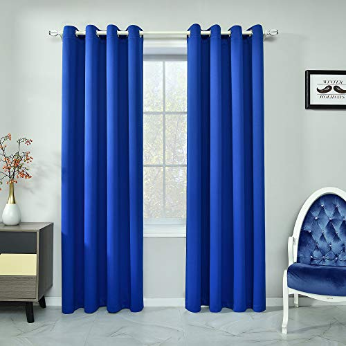 Royal Blue Curtains 84 Inch Length Light Blocking Thermal Insulated Windows Drapes Darkening Room Curtains for Living Room Grommet Blue Blackout Curtains for Bedroom 2 Panels 52 x 84 Inches Long