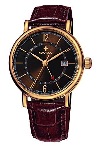 SWIZA Alza Gmt Quarzlaufwerk, Gehäuse Edelstahl, Goldene Pvd-Beschichtung, Braunes Band Luxus Uhr Made in Swiss