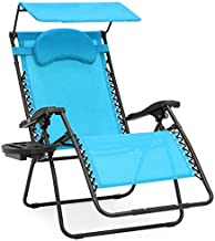 Best Choice Products Oversized Zero Gravity Reclining Lounge Patio Chair w/Folding Canopy Shade and Cup Holder - Aqua