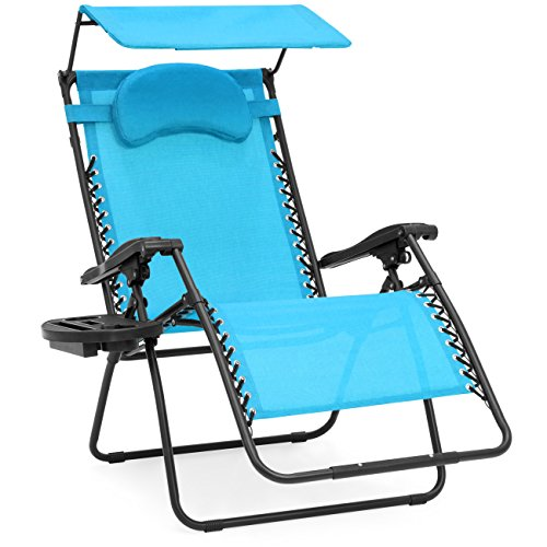 Best Choice Products Oversized Steel Mesh Zero Gravity Reclining Lounge Patio Chair w/Folding Canopy Shade and Cup Holder, Aqua