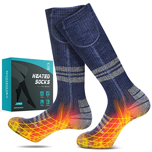 JBTOR Heated Socks, Rechargeable Electric Battery Socks with 4400mAh (2200mAhx2) Large Capacity Thermal Insulated Socks for Winter Outdoor Sports Motorcycle Riding Camping Snow Skiing Foot Warmer