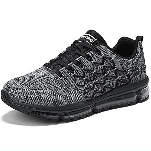 Zapatillas de Deporte Hombre Mujer Running Bambas Ligero Zapatos para Correr Respirable Calzado Deportivo Andar Crossfit Sneakers Gimnasio Moda Casuales Fitness Outdoor Grayblack-38