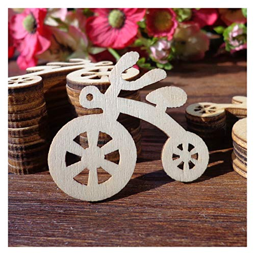 ARTFFEL Light 50pcs Wood Gift Tags,4.4x4.3cm Bike Shape Wooden Wedding Favor Tags, Price Label Party Hang Tags, Hemp String Included Safety