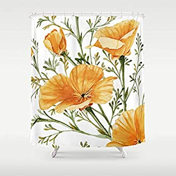 KUKUALE Modern Pastoral California Poppies - Watercolor Painting Shower Curtain Waterproof Bathroom Curtain Set with 12 Hooks 180x180cm(71x71 inch)