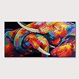 QYYDYH Cuadro de Pared para Sala de Estar Arte de Lienzo de acrílico Pintado a Mano Dos Elefantes en Juego Animal Poster Pinturas al óleo sin Marco 80x160cm Sin Marco MT161713