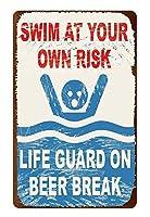 あなた自身のリスクで泳ぐブリキ看板ヴィンテージ錫のサイン警告注意サインートポスター安全標識警告装飾金属安全サイン面白いの個性情報サイン金属板鉄の絵表示パネル
