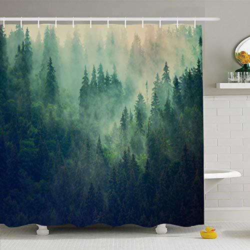 AdaCrazy Nebel grüne Alpen nebligen Bergen Tannenwald geheimnisvolle natürliche Alpen Park Wolken kalt Dunkles Design Mikrofaser Bad Duschvorhang Moderne Bad Gardinen 71 x 71 Zoll