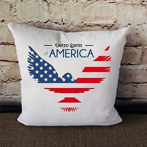 Almohada americana con diseño de bandera americana, color rojo, blanco y azul, diseño de estrellas y rayas