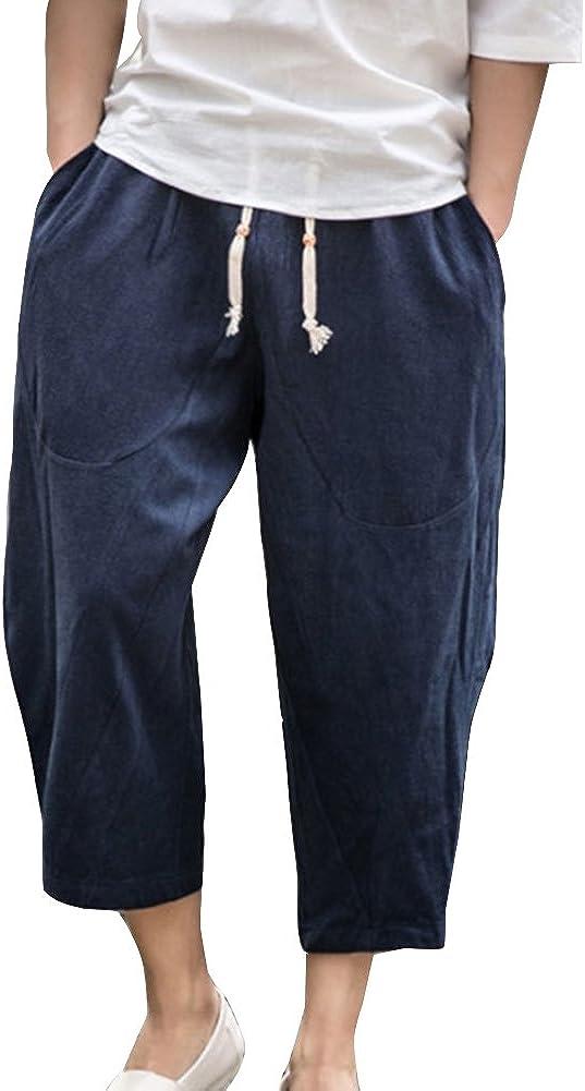 DSJJ Homme Short Lin 3//4 Bermudas Casual ete Taille Elastique Baggy Large Pantacourt M-4XL