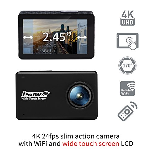 ISAW Touch Wide Touch Screen Sports Action Camera 4K 24fps 1080p 60fps (12MP Sony Sensor) Wide Touch Screen, Various Accessories, Waterproof 30m + WiFi + Remote Controller