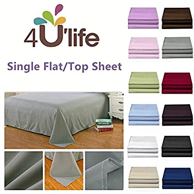 4U LIFE 2 Piece Flat Sheet-Ultra Soft and Comfortable Microfiber, King, Black