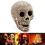 Fireproof Skulls for Fire Pit,TFSeven Ceramic Hollow Fire Pit Skull Log for Horror Skull Halloween Decorations Bonfire, Campfire, Fireplace, Firepit | for Gas, Propane, or Wood Fires (1)