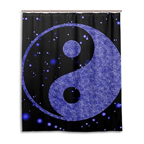 JSTEL Decor Yin Yang Rideau de Douche en Tissu 100% Polyester Motif Abstrait 152 x 183 cm