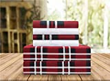 Elegant Comfort Luxury Soft Bed Sheets Plaid Pattern 1500 Thread Count Percale Egyptian Quality Softness Wrinkle and Fade Resistant (6-Piece) Bedding Set, Queen, Plaid Burgundy