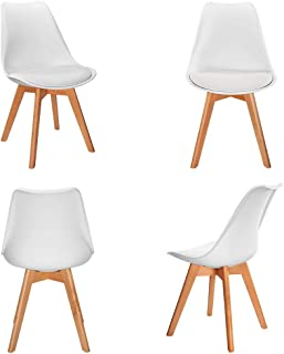 VADIM Lote de 4 sillas de Comedor escandinavas Cómodo Asiento tapizado Blanco Pies de Madera Almohadilla de Cuero sintético Sillas de Cocina nórdicas para su hogar Moderno o Vintage contemporáneo