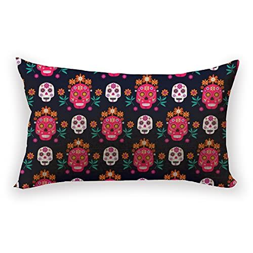 Reebos Funda de cojín de lino y algodón lumbar, diseño de calavera para sofá, hogar, rectangular, 30,5 x 50,8 cm
