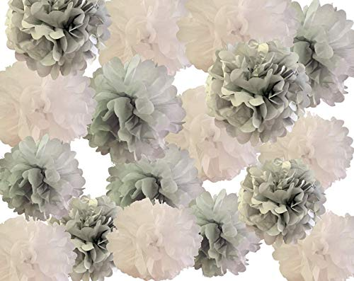 "Beautiful 20 Count Pom Pom Set - Tissue Paper Flowers - Silver, White and Light Grey - 12"" 10"" & 8"" - Bonus Confetti - Perfect for Weddings, Birthdays, Engagements, Baby Showers and More"