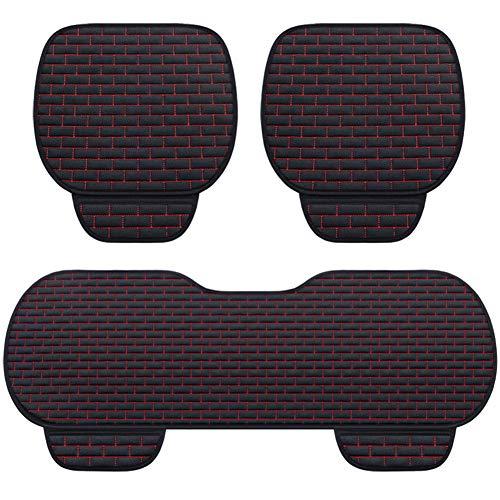 RR-YRC Car Cushion, Non-Slip Mat, Linen Material, Summer Cushion, Comfortable and Breathable, Suitable for Most Cars, Trucks, SUV,Black