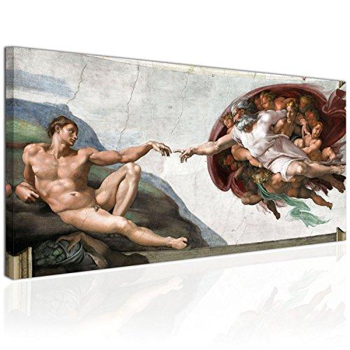 Topquadro XXL Wandbild, Leinwandbild 100x50cm, Die Erschaffung Adams - Michelangelo Italienische Renaissance, klassischer Stil - Panoramabild Keilrahmenbild, Bild auf Leinwand - Einteilig
