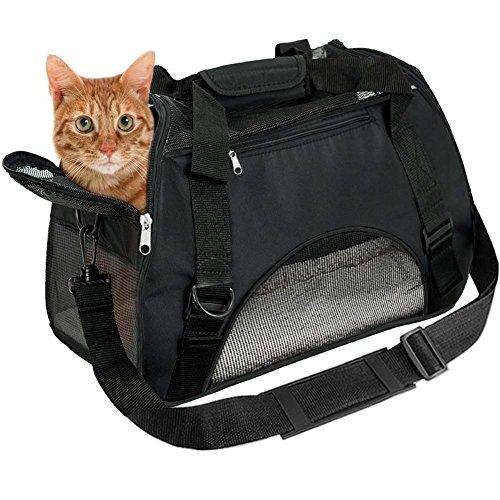 EVELTEK Bolsa de Transportín para Perros, Cómodo Bolso de Hombro Portador para el Transporte de Perro & Gato en Avión, Coche o en el Tren (Negro)