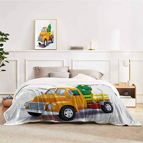 YUAZHOQI Christmas Throws Blanket Yellow Vintage Truck and Tree Design with Star Topper Old Farm Vehicle Throw Blankets for Couch Chair Living Room 60' x 80' White Yellow Green