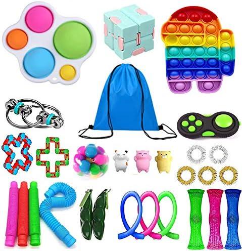 Huibao Fidget Toys Pack, Cheap Sensory Fidget Toys Packs with Simple Dimple, Fidget Toy Set with Stress Balls and Marble Mesh (21pcs)